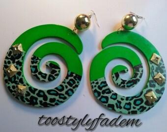 neon green animal print swirl earrings