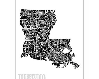 Louisiana Typography Map Art Print - signed print from my original hand drawn state map typography series - featuring cities & towns