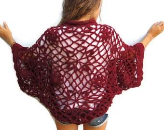 Hand Crocheted Lace Shrug Crochet Lace Sweater Women, Crochet Lace Bolero, Wool Lace Shrug,  Deep Red OOAK