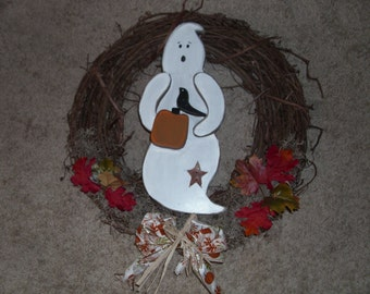 ghost wreath with pumpkin/crow