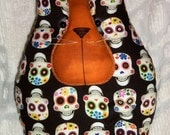 Primitive/Shabby Large Cat Pillow~Skully~Halloween/Day of the Dead~Sugar Skulls