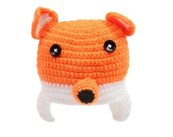 Crocheted Hat and Diaper Cover NB-6mos- FOX
