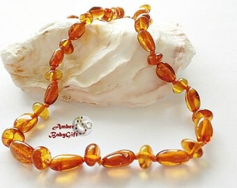 Baltic Amber Teething Necklace for Babies, Children and Adult - Cognac Amber Beads - Screw or Safety clasp - Choose Your Length, K-14