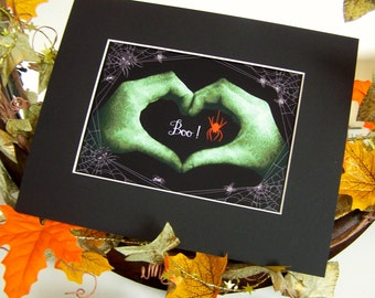 HALLOWEEN Green Sign Language Heart Hands Matted Print - BOO to YOU!