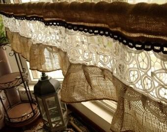 Custom Burlap Vintage Lace Valance -Shabby Chic Rustic window treatments Kitchen Valance  RUFFLED Curtain White