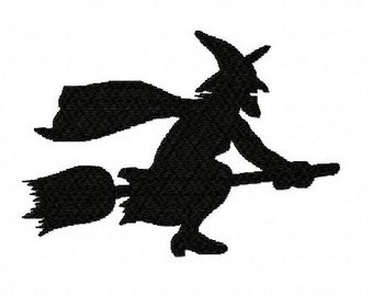 Halloween flying witch silhouette machine embroidery design 3 inch instant download