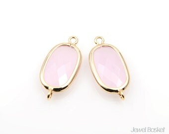Ice Pink Glass and Gold Framed Connector - 2pcs Ice Pink Glass Oval Connector / 19.5 x 9mm / SPKG071-C