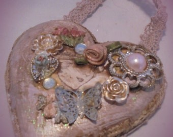 Upcycled Romantic Shabby Chic Flapper Love Heart Mini Plaque