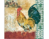 Decoupage NapkinsTUSCAN ROOSTER Paper Napkins for Crafts 2 (two) BEVERAGE/Cocktail Size Chicken Rooster decoupage napkins For Crafts