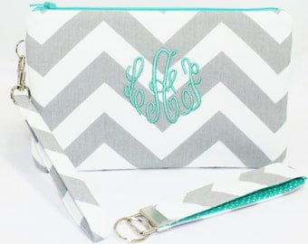 Monogrammed Chevron Iphone/Cell Phone Wristlet & Key Fob in Choice of Colors