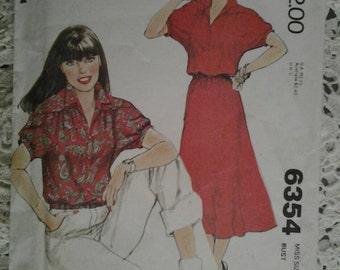 McCalls 6354 Ladies Dress or Top Vintage Sewing Pattern