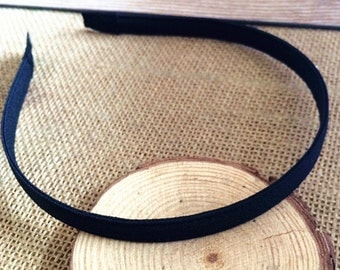 10pcs Black Satin Covered metal  Headband  10mm Wide