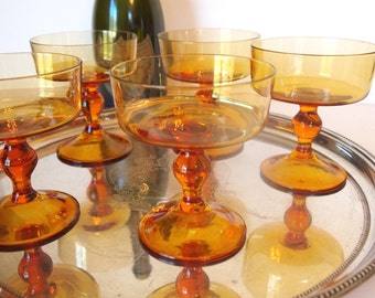 Vintage Champagne Glasses Amber Glass Coupes Crystal Coupe Glasses Saucers Set of 5 Stemware | Wedding Housewarming Gift | Mid Century Bar