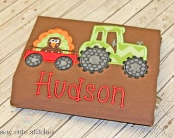 Boys Embroidered Tractor Hauling Turkey Shirt - Boys Thanksgiving Shirt - Boys Tractor Shirt - Boys Fall shirt