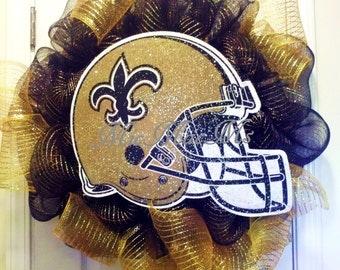 Saints Wreath, New Orleans Saints wreath, Saints Door decor, Saints Football Helmet, team spirit wreath, Football wreath