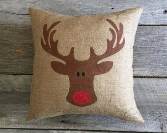 Burlap Rudolph Pillow Cover ONLY,Rudolph Pillow, burlap pillow,Christmas Pillow,red glitter pillow,deer pillow, antler pillow,