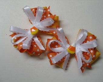 Halloween Candy Corn TWO 3 inch Pig Tail Hair Bows Little Petite Piggy Tail