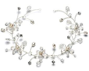 Pearl Hair Vine, Crystal Hair Vine, Floral Hair Vine, Bridal Headband, Rhinestone Headpiece, Wedding Headband, Bridal Headpiece ~TI-393
