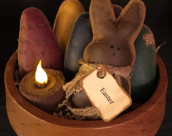 Primitive Easter Bunny with Grubby Easter Eggs Bowl Fillers