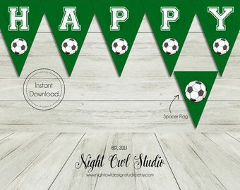 Soccer Birthday Banner-Soccer-Fútbol-Birthday Banner-Let's Kick It-Soccer Party-Printable Banner
