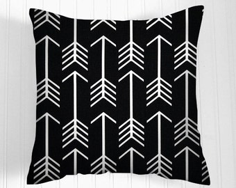 Black Pillows -  Pillow Cover-   Decorative Pillow Size Choice Throw Pillow Pillows  Accent Pillows Black Arrows