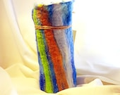 Handmade Felted Vase, Tussah Silk, Merino Wool, Tencel, Felt, Wine Cozy, Holds Water with Glass, Blue, Green, White, Orange