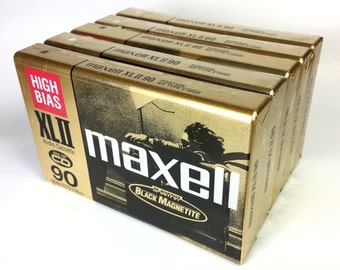 Lot of 5 Vintage Maxell High Bias XL II Blank Sealed Audio Cassett tapes 90 Minutes Type II Japan