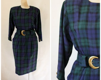 Vintage Blue Green Tartan Dress / 1980s Power Dress / Wiggle Dress / Modest Executive Dress / Green Navy Plaid Dress S/M