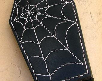 Cow leather wallet style biker coffin white spider web
