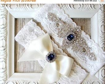 Garter Set, Wedding Garter Set, Bridal Garter Set, Vintage Wedding, Lace Garter, Crystal Garter Set - Style 001 A, Customize It!