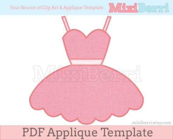 Ballerina tutu dress applique template pdf applique pattern for Ballerina tutu template