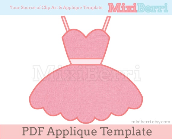 Ballerina Tutu Dress Appliqué Template PDF Applique Pattern