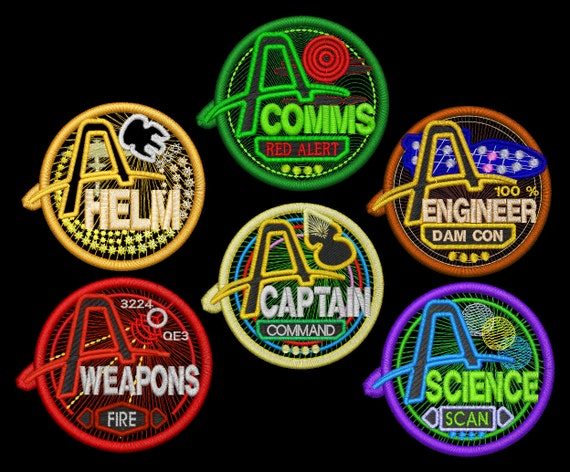 Artemis Station Patches - Captain, Comms, Engineer, Science, Weapons and Helm