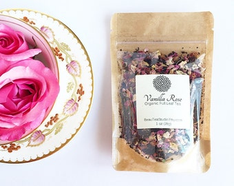Organic Vanilla Rose Tea / Black Tea /  Loose Leaf Tea, Rose Petals, Vanilla Bean / Hand-Blended Full Leaf Tea / Assam Tea