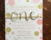 First birthday invitation. Baby girl birthday. Pink, gold birthday invitation.  Gold glitter birthday invite. Glitter one, Confetti dots
