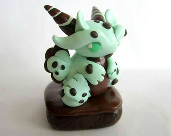 Mint Chocolate Chip Brownie Polymer Clay Dragon