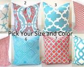 PILLOWS Coral Decorative Throw Pillows BEACH Aqua Blue Pillow Cover Nautical Turquoise All Sizes 16x16 18x18 20x20 Home Decor