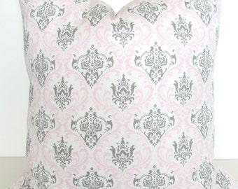 PINK PILLOWS Pink Throw Pillows Pink Pillow Covers 18x18 16 20 Gray Baby Pink Pillow Covers Grey baby Girl Nursery Baby Bedding