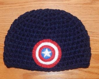 Captain America Beanie, Captain America, Baby Hat, Newborn Photography Prop, Photo Prop, Superhero Hat, Baby Costume