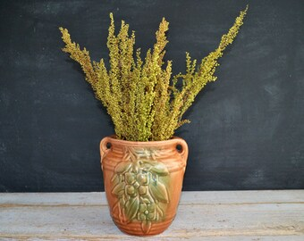1930s Vintage Brown and Green McCoy Vase Fall Decor