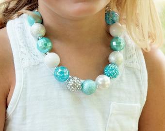 Frozen Necklace Elsa Necklace Little Girls Turquoise Necklace  Little Girls Bubble Gum Beads Necklace