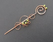 Spiral Hair Stick, Copper Hair Fork, Hair Accessory, Bun Clip, Hair Clasp, Wire Wrapped, Women, Girls Beaded