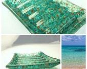 Art Glass Soap Dish  - Hostess Gift - Wedding Present - Bathroom Decor - Kitchen Decor