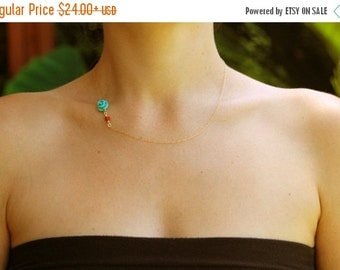 Turquoise necklace, gold rose necklace, Asymmetric necklace, turquoise jewelry, coral necklace, turquoise bridesmaid necklace, rose gold