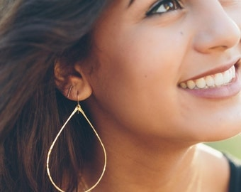 Hoop Earrings - Thin Gold Hoops - Delicate 14K Gold Filled or Sterling Silver Oval Hoop Earrings - Teardrops - Teardrop