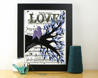 Unique Father of the Bride Gift w/ First Dance Music Sheet or Wedding Lyrics - Personalized Daddy Daughter Keepsake Bird Art on Paper 8 x 10