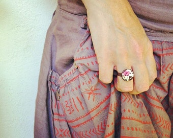 Pink Rose Ring, Pink Flower Ring, Floral Button Ring, Dainty Floral Ring, Copper Adjustable Ring, Romantic Floral Jewelry, Tiny Flower Ring