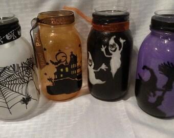 Halloween Mason Jar Votive Holders Hand Painted