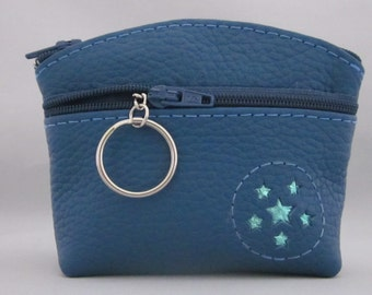 Blue Leather Coin Purse.