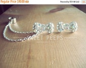 Valentines Sale Bow Rhinestone StudEarCuff Set with Chain